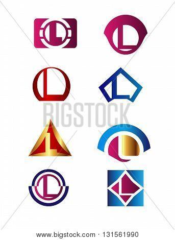 Set of letter L logo Branding Identity Corporate vector symbol design template