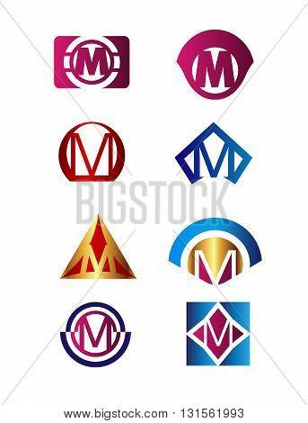 Set of letter M logo Branding Identity Corporate vector symbol design template