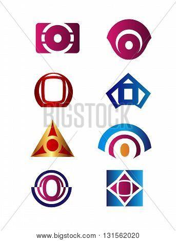Set of letter O logo Branding Identity Corporate vector symbol design template
