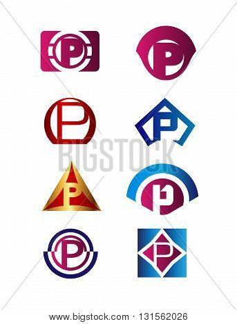 Set of letter P logo Branding Identity Corporate vector symbol design template