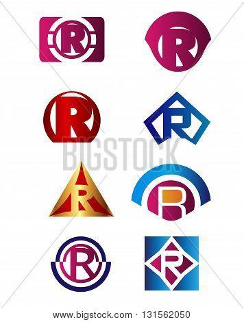 Set of letter R logo Branding Identity Corporate vector symbol design template