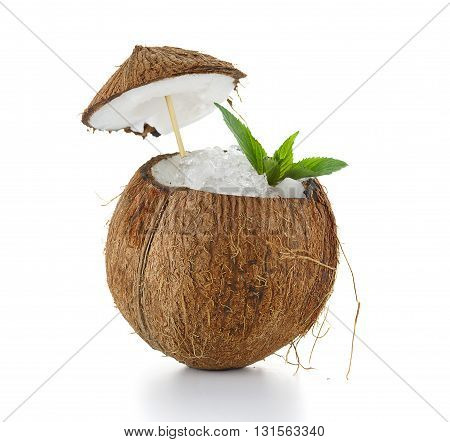 Oconut Cocktail With Ice Isolated On White Background