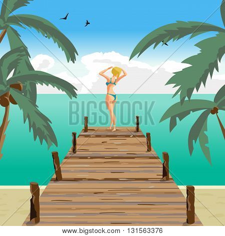 Sea landscape summer beach old wooden pier. Blonde woman dressed in green swimsuit is standing sunbathe on the sun raising his hands. Vector cartoon flat illustration