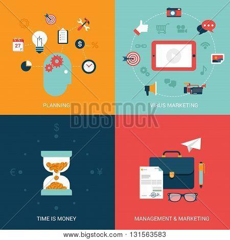 Flat vector illustration concept virus marketing
