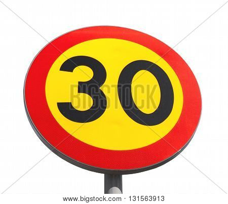 Bright Speed Limit Road Sign Isolated
