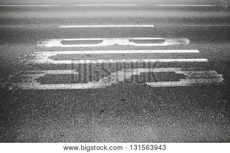 Bus Text Label On Urban Asphalt Road