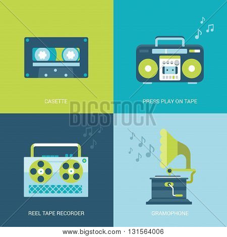Flat design vector illustration retro vintage