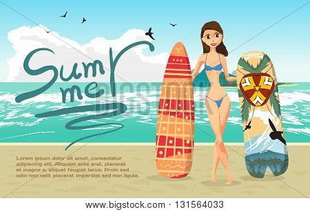Summer vacation concept background with space for text. Sea landscape summer beach woman with surfboards. Vector flat cartoon illustration