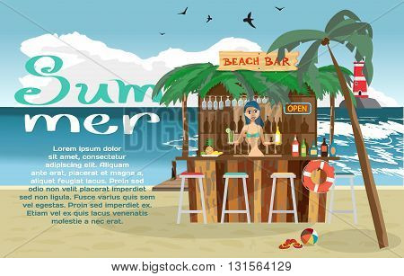 Summer vacation concept background with space for text. Vector cartoon flat illustration. Bar bungalows with bartender woman on the beach ocean coast. Relaxing at the beach bar drinks fruits