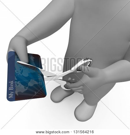 Credit Card Shows Cut Spend And Payment 3D Rendering