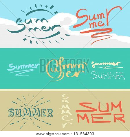 Vector summer background. Summer vector illustration. Vector hand lettering inspirational typography poster summer. Summer fun. Handwritten summer lettering. Summer card
