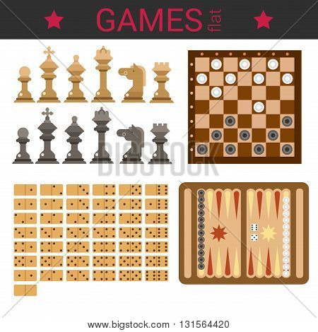 Flat design vector board game template vector icon set. Chess figures, checkers, domino, backgammon. Flat games collection.