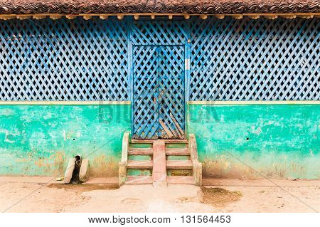 Traditional house architecture, frontal view, Tamil Nadu, India