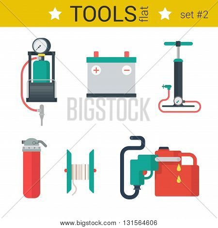Flat design automotive tools vector icons pumps