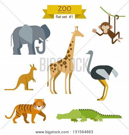 Flat design vector animals icon set elephant