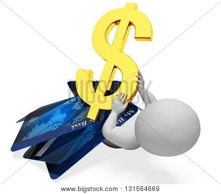 Credit Card Indicates Difficult Situation And Banking 3D Rendering