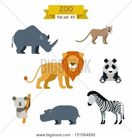 Flat design vector animals icon set lion zebra