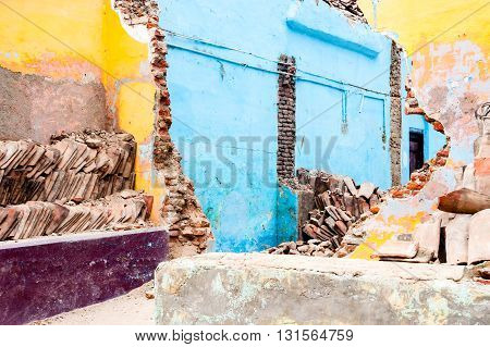 Colorful demolished house interior view in Morocco