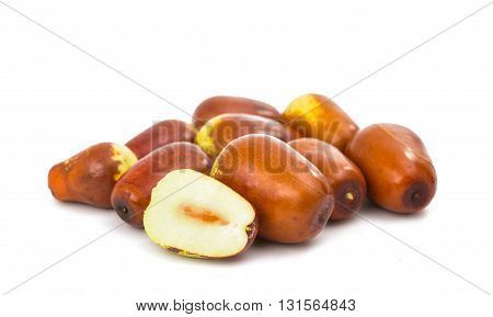fruit, chinese jujubes isolated on white background