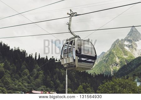 cableway cabin in the mountains. alpine landscape