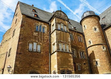 STEINAU AN DER STRASSE, GERMANY-MAY 22, 2016:  Castle Museum Brothers Grimm Memorial in Steinau an der Strasse, birthplace of the Brothers Grimm, Germany