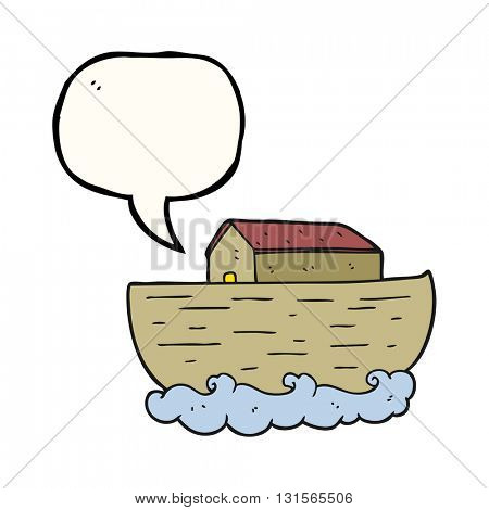 freehand drawn speech bubble cartoon noah's ark