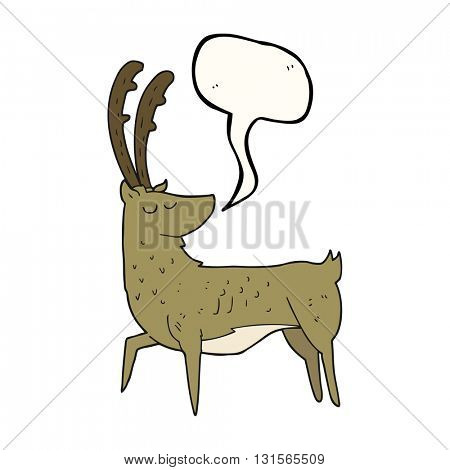 freehand drawn speech bubble cartoon manly stag