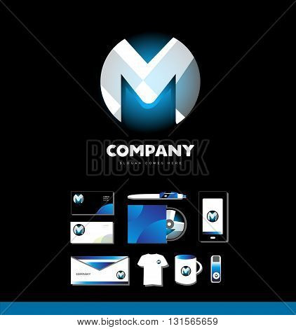Vector company logo icon element template alphabet letter m corporate set sphere 3d