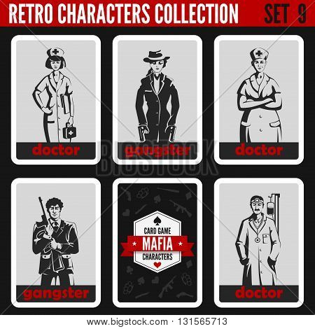 Vintage retro people collection. Mafia noir style. Gangsters, Doctors. Professions silhouettes.