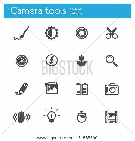 Camera tools flat icons set of 16