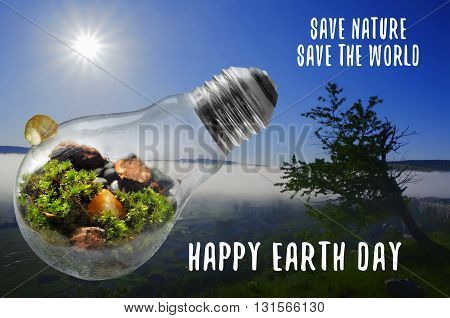 Happy Earth Day Save Nature and World illustration
