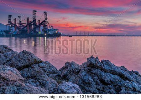 Twilight on sunset scene, Business onshore shipping.