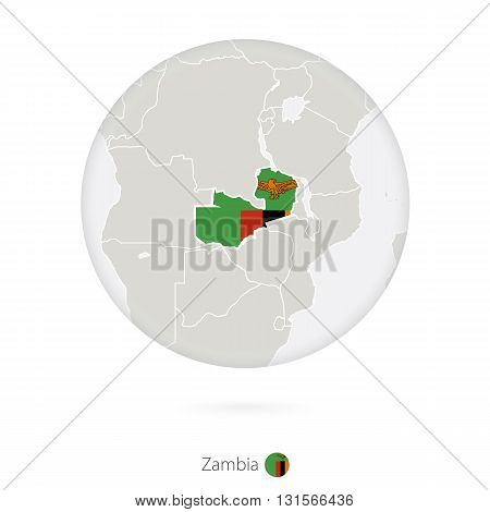 Map Of Zambia And National Flag In A Circle.
