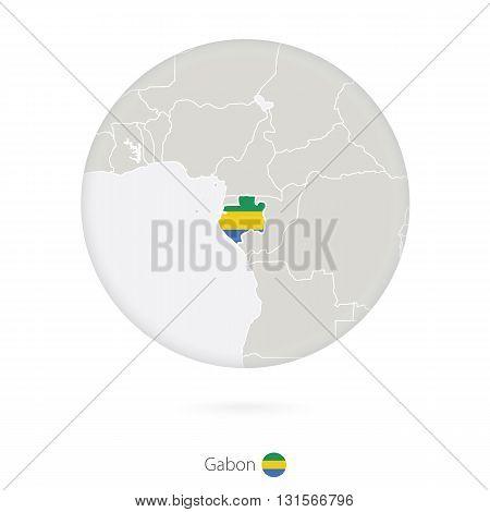 Map Of Gabon And National Flag In A Circle.
