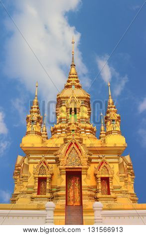 Golden pagoda with blue sky chaing mai Thailand