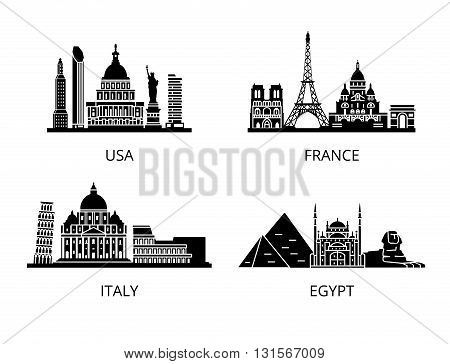 High detail landmarks silhouette stencil set. World countries