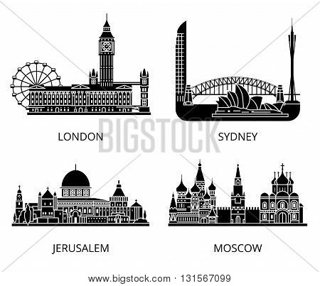 High detail landmarks silhouette stencil set. World countries cities sightseeing collection.