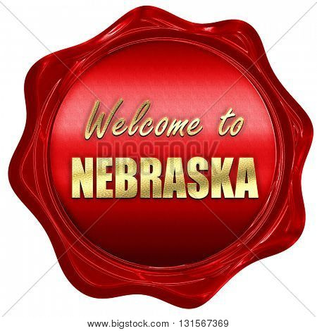 Welcome to nebraska, 3D rendering, a red wax seal