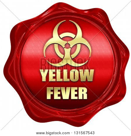 yellow fever concept background, 3D rendering, a red wax seal