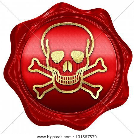 Poison sign background, 3D rendering, a red wax seal