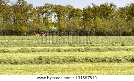 LEUSDEN NETHERLANDS - MAY 6 2016: Red tractor pulling a swather grass mower cutting through a hay field on a spring day.