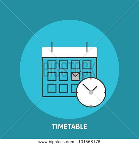 Timetable vector illustration. Calendar and clock icons