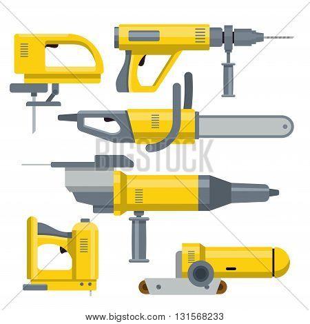 Industrial equipment constructor template mockup vector set