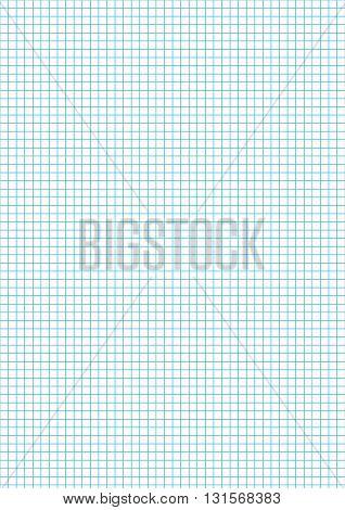 Five millimeters cyan grid on a4 size vertical sheet
