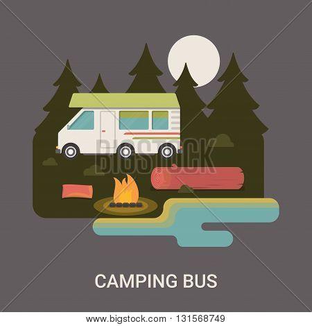 Camping bus camp logo flyer brochure vector flat illustration