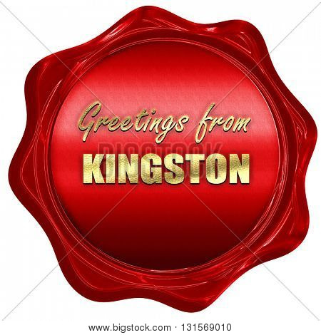 Greetings from kingston, 3D rendering, a red wax seal