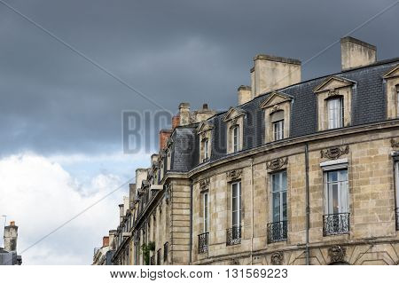 Old houses in Bordeaux. Bordeaux is a port city on the Garonne river in southwestern France