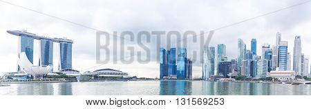 Singapore, 2016 January 14: Panorama Of The Marina Bay Sands Hotel, Bridge, Museum And Financial Dis