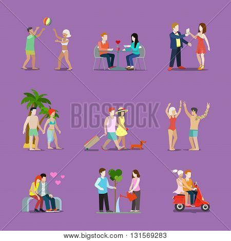 Couple of young man and woman life style set love illustration