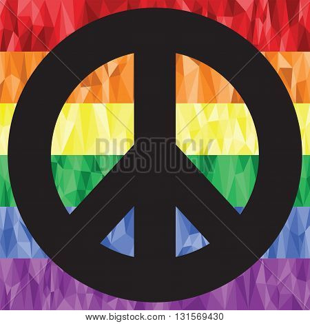 Gay and lesbian rainbow symbol flag  in low poly art with peace symbol